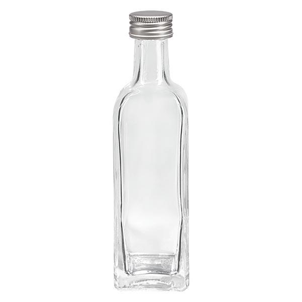 Bouteille à liqueur transparente 60 ml carrée + capsule à vis en aluminium argenté (PP 18 mm)