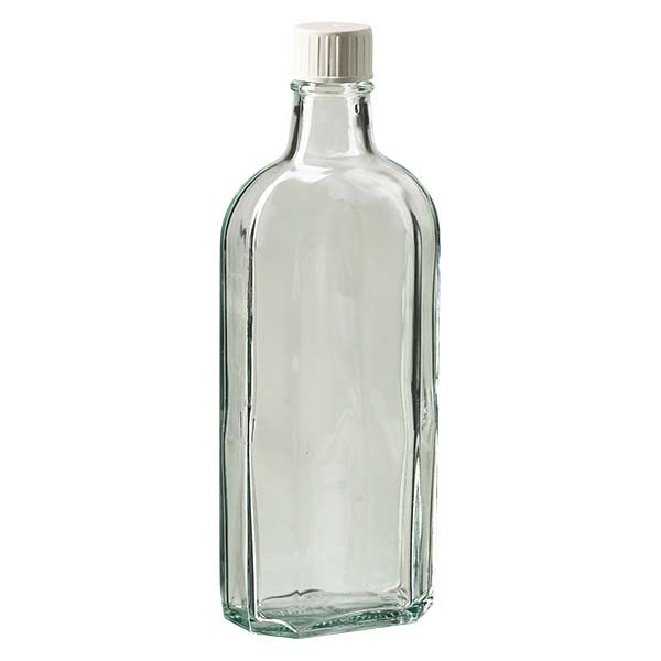 Flasque transparente de 250 ml au goulot DIN 22, avec bouchon à vis DIN 22 blanc et bague anti-gouttes