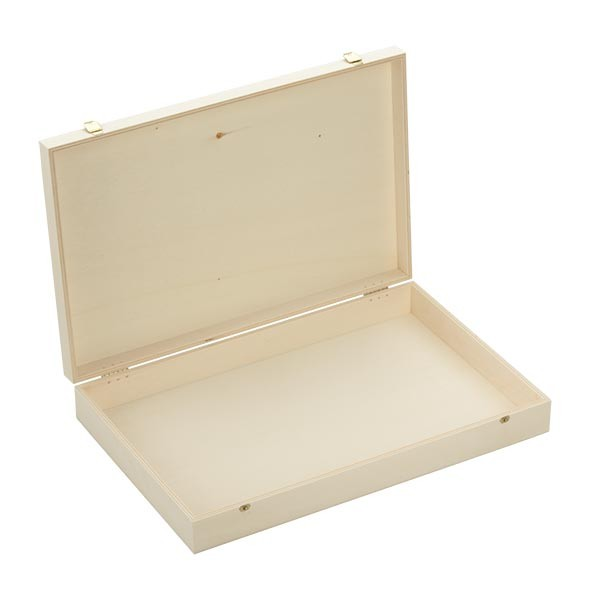 Holzbox mit Klappdeckel 40x26x6cm geöffnet