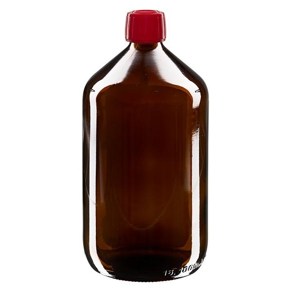 Flacon médical 1000 ml couleur ambrée avec bouchon rouge