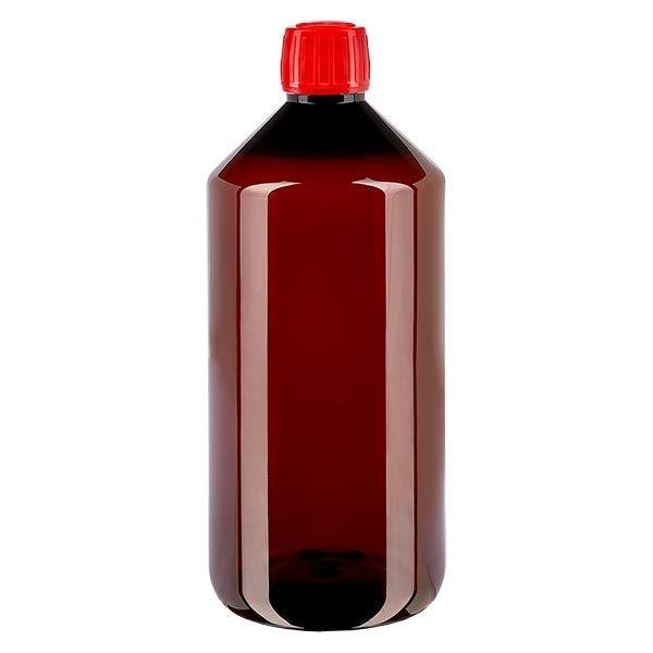 Flacon médical en PET 1000 ml ambré, avec bouchon à vis rouge PP28