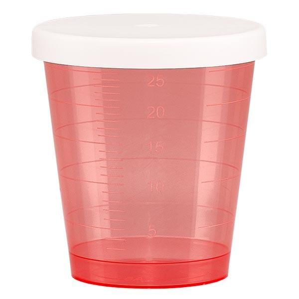 Gobelet à médicaments 30 ml + couvercle à déclic (gobelet pharmaceutique / verre à eau-de-vie) couleur : rouge