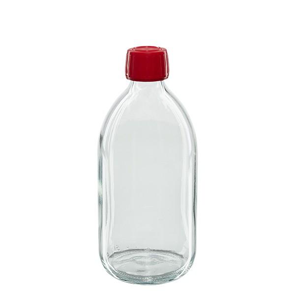Flacon médical 500 ml couleur claire avec bouchon rouge