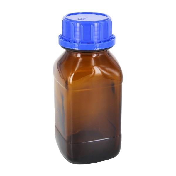 Flacon carré à col large en verre ambré 250 ml, avec bouchon à vis bleu de norme DIN 45, système d'inviolabilité et joint cônique