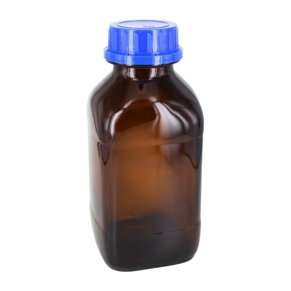 Flacon carré à col large en verre ambré 1000 ml, avec bouchon à vis bleu de norme DIN 54, système d'inviolabilité et joint en PEE