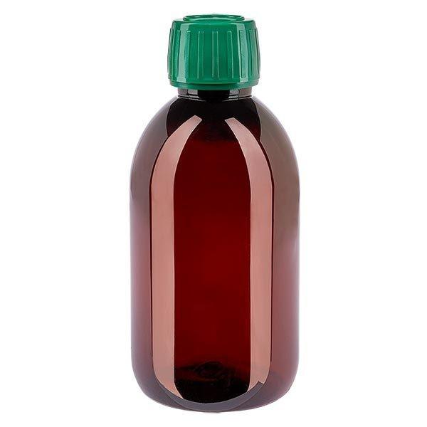 Flacon médical de 250 ml en PET, avec bouchon à vis vert PP28
