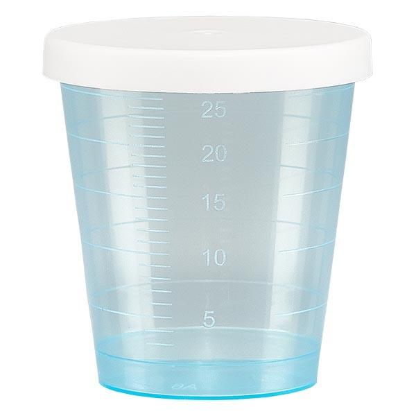 Gobelet à médicaments 30 ml + couvercle à déclic (gobelet pharmaceutique / verre à eau-de-vie) couleur : bleu
