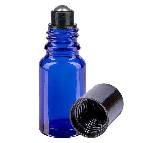 Flacon de déodorant en verre bleu 10 ml, déo à bille vide