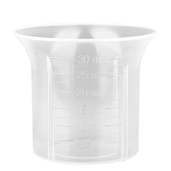 Gobelet doseur de 30 ml pour bouchon à vis blanc de 28mm graduation à partir de 5 ml par pas de 2,5 ml