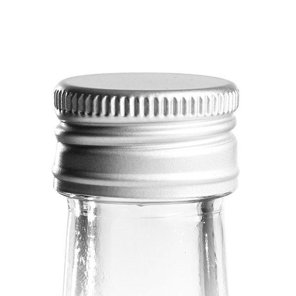 Schraubverschluss 24mm silber Alu geriffelt mit Dichtscheibe