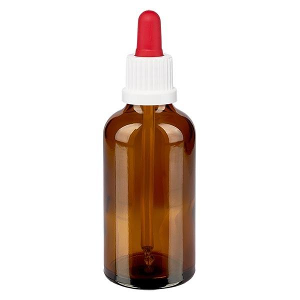 Flacon à pipette brun 50 ml + pipette rouge et blanche à système d'inviolabilité