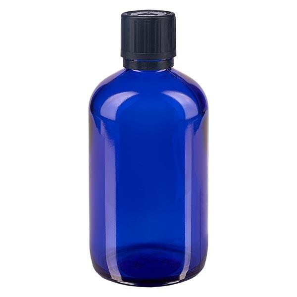 Fl. pharm. bleu 100 ml bouch. compte-g. prem. 1 mm séc. enf. avert. aveugles inviolable