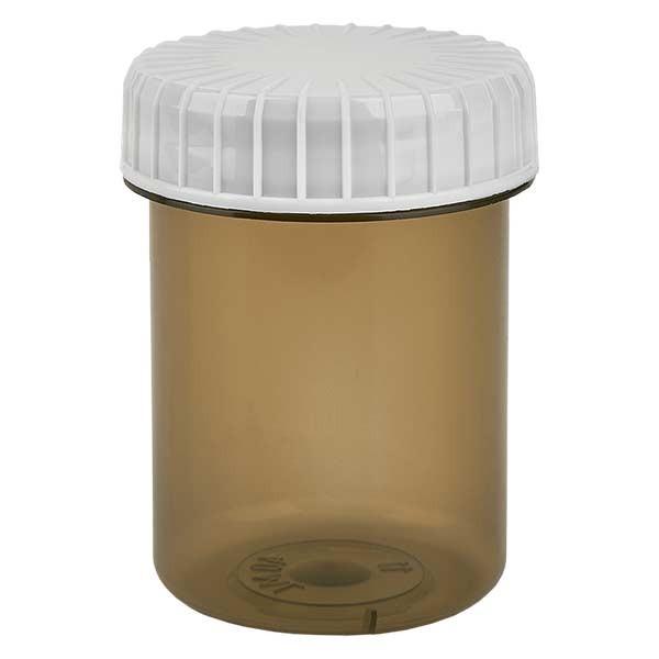 Pot en plastique couleur Shadow 40 ml + couvercle à vis blanc strié en PE, fermeture standard