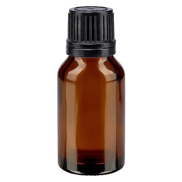 Flacon pharma. ambré 15 ml bouch. à vis noir bague anti-g. inviolable