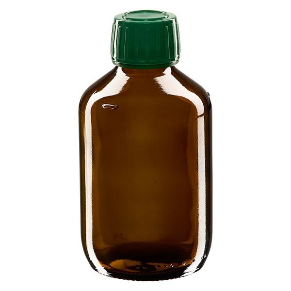 Flacon médical 200 ml couleur ambrée avec bouchon verte