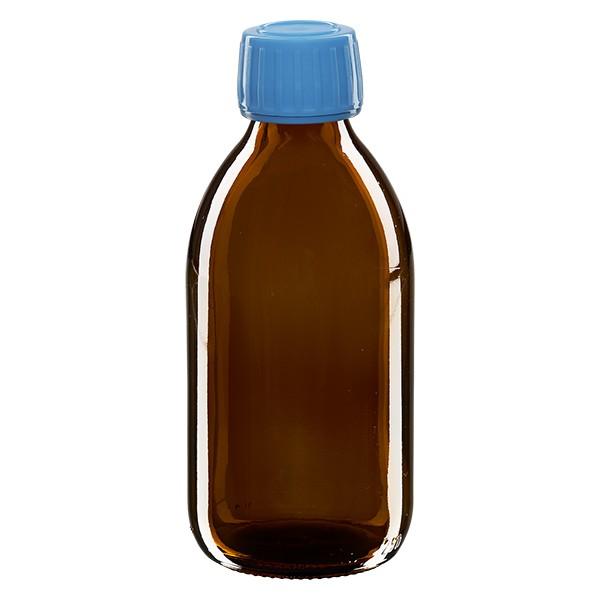 Flacon médical 250 ml couleur ambrée avec bouchon bleue