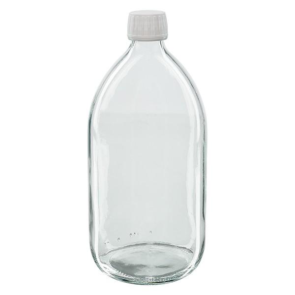 Flacon médical 1000 ml couleur claire avec bouchon blanche avec insert an PTFE