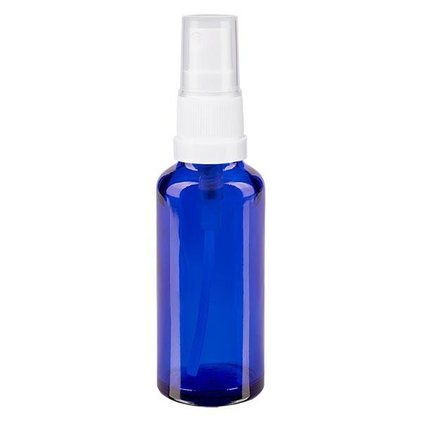 Flacon compte-gouttes bleu 30 ml avec vaporisateur à pompe blanc
