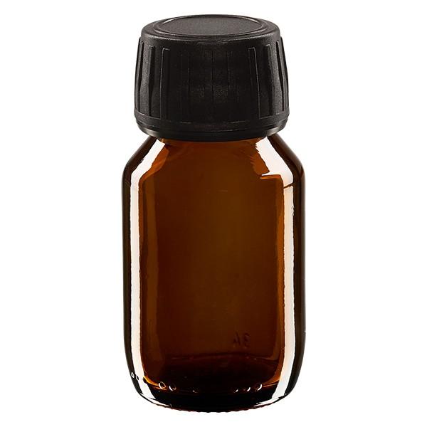 Flacon médical 50 ml couleur ambrée avec bouchon noir