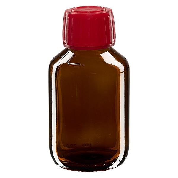 Flacon médical 100 ml couleur ambrée avec bouchon rouge