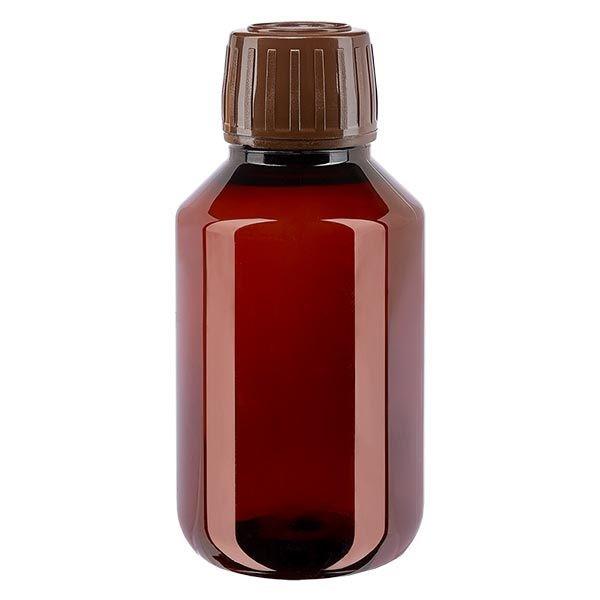 Flacon médical de 100 ml en PET, avec bouchon à vis brun PP28
