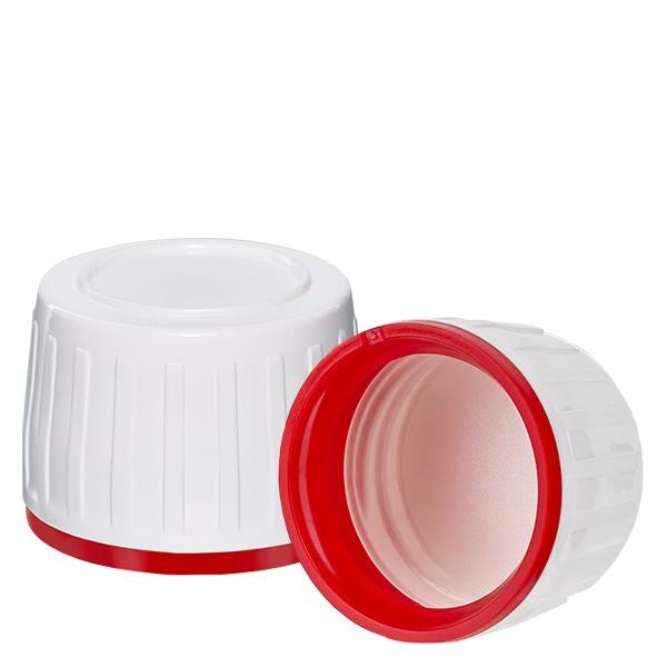 Bouchon à vis blanc pr flacons méd PET + bague d'inviolabilité rouge