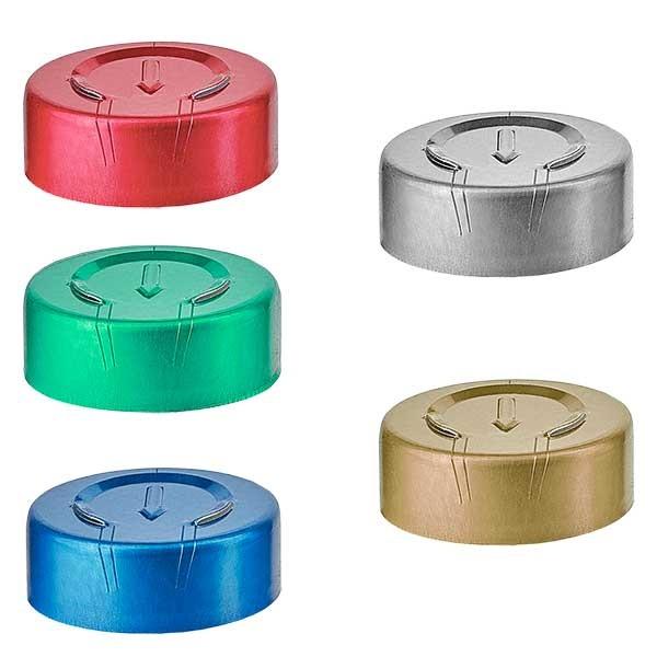 Capsules à sertir 20,25x7,4 mm à arracher ENTIÈREMENT, couleur au choix