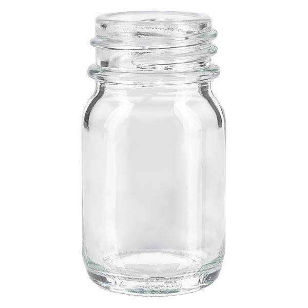 Bocal à col large en verre clair 30 ml, goulot DIN 32, sans couvercle