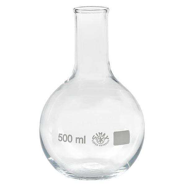Ballon à fond plat 500 ml à col étroit, en verre borosilicate avec bord renforcé