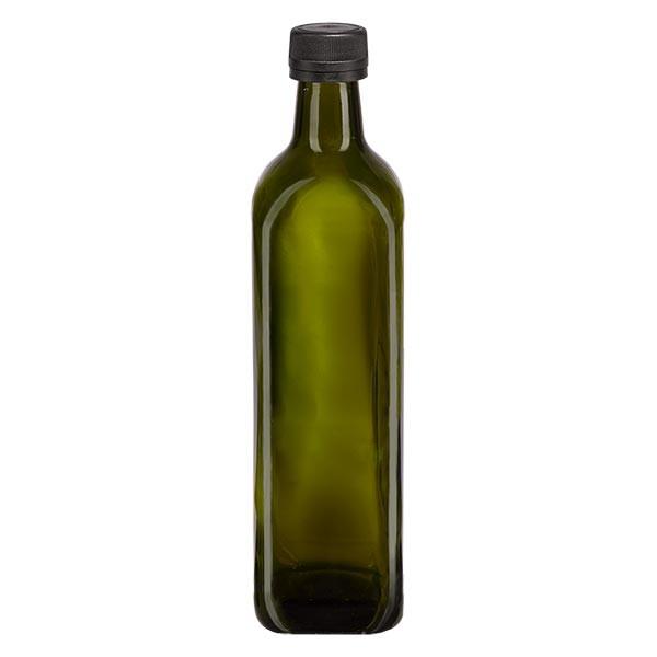 Bouteille carrée vert olive 750 ml + capsule à vis noire (PP 31,5 mm) et bague anti-gouttes avec système d'inviolabilité