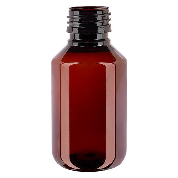 Flacon médical en PET 100 ml ambré, PP28 sans bouchon
