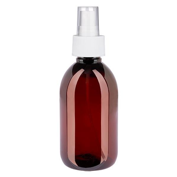 Flacon médical de 250 ml en PET, avec spray blanc GCMI 28/410 et capuchon transparent standard