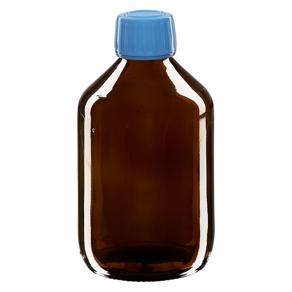 Flacon médical 300 ml couleur ambrée avec bouchon bleue