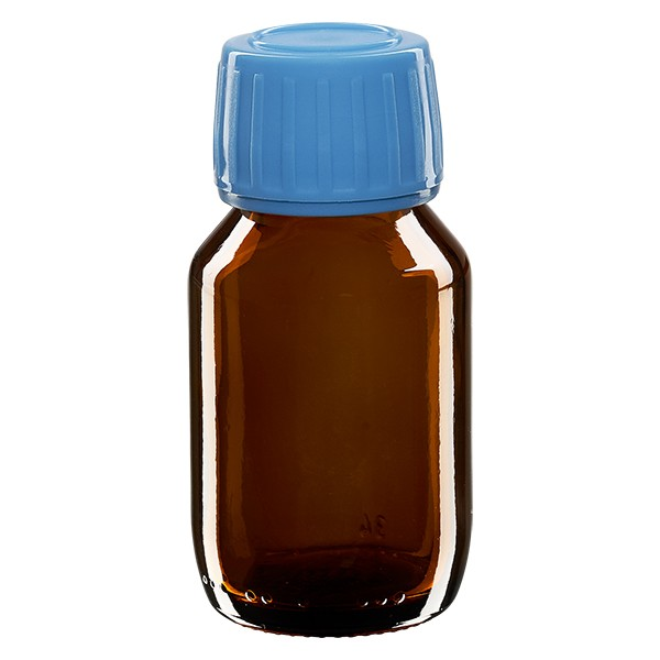 Flacon médical 50 ml couleur ambrée avec bouchon bleue