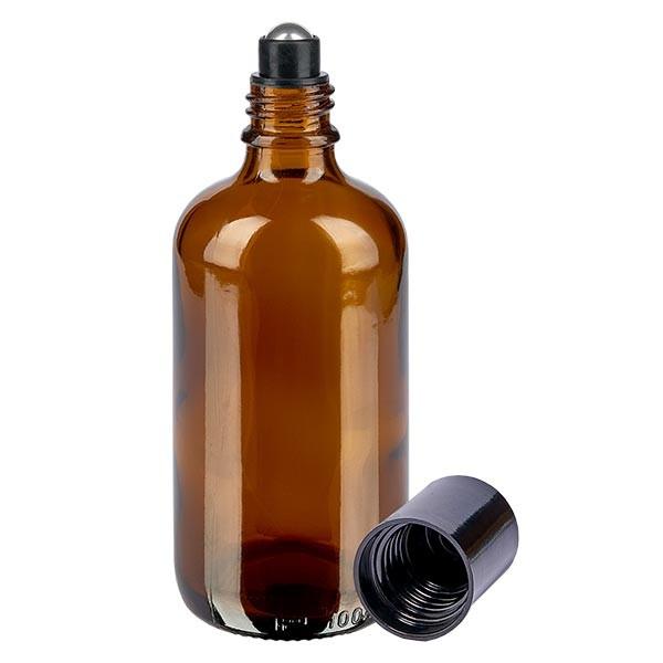 Flacon de déodorant en verre ambré 100 ml, déo à bille vide
