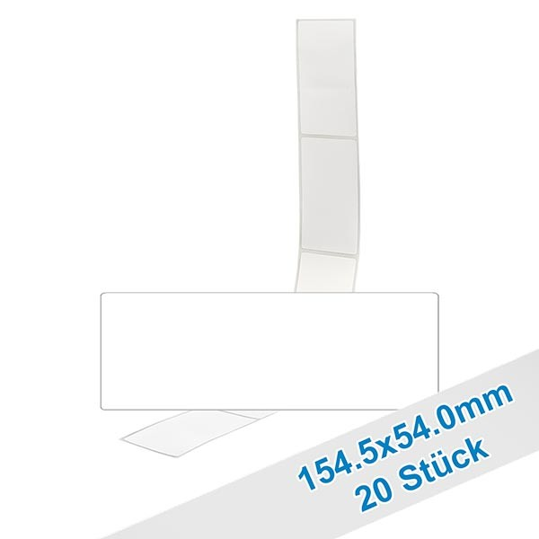 20 étiquettes amovibles blanches, 54x154.5 mm