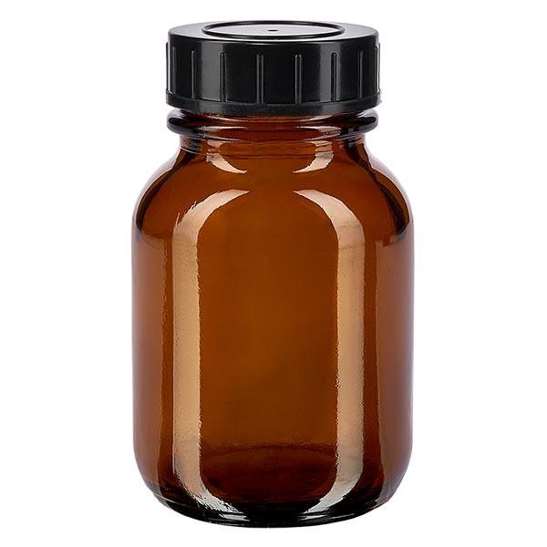 Bocal à col large en verre ambré 50 ml + couvercle à vis