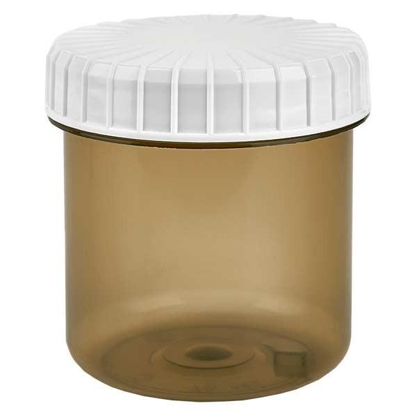 Pot en plastique couleur Shadow 75 ml + couvercle à vis blanc strié en PE, fermeture standard