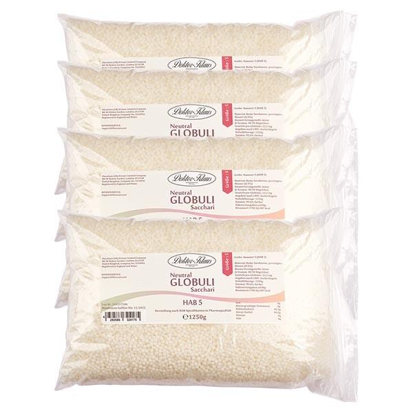 Offre spéciale : 5kg globules neutres HAB5, 100 % pure saccharose (4 x 1,25 kg)