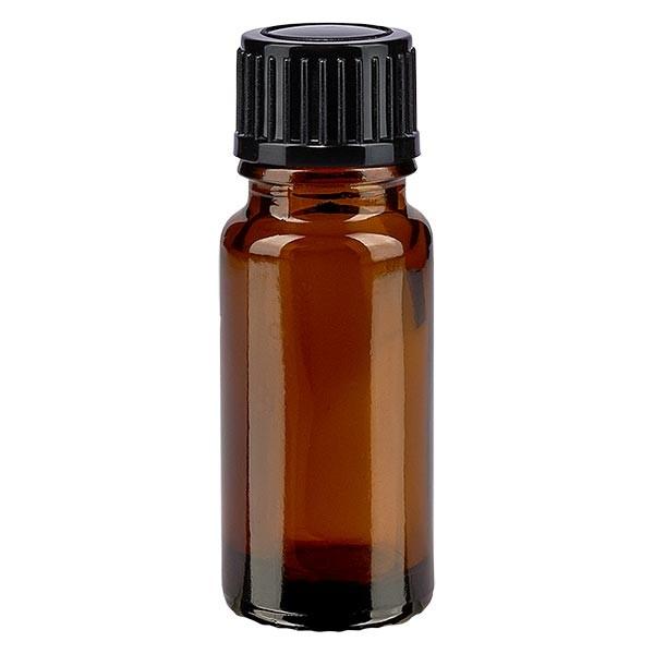 Flacon pharmaceutique ambre 10 ml bouchon compte-gouttes 1 mm noir standard