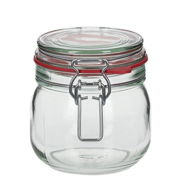 Bocal à armature / bocal rond de 634 ml, convient à la pasteurisation