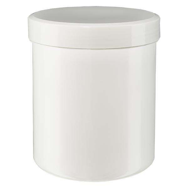 Pot à onguent blanc 150 g avec couvercle blanc (PP)