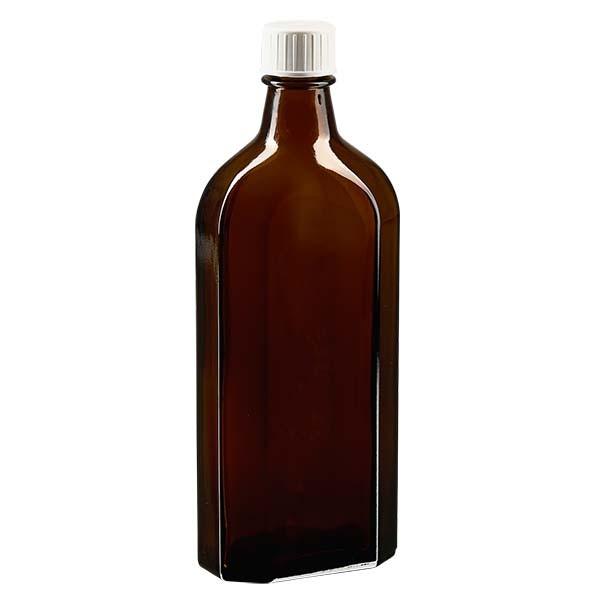 Flasque brune de 250 ml au goulot DIN 22, avec bouchon à vis DIN 22 blanc et bague anti-gouttes