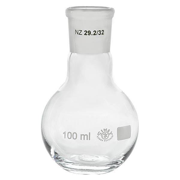 Ballon à fond plat 100 ml à col large, en verre borosilicate avec rodage normalisé 29/32