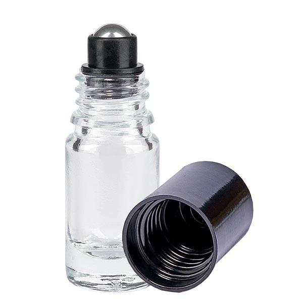 Flacon de déodorant en verre clair 5ml, déo à bille vide