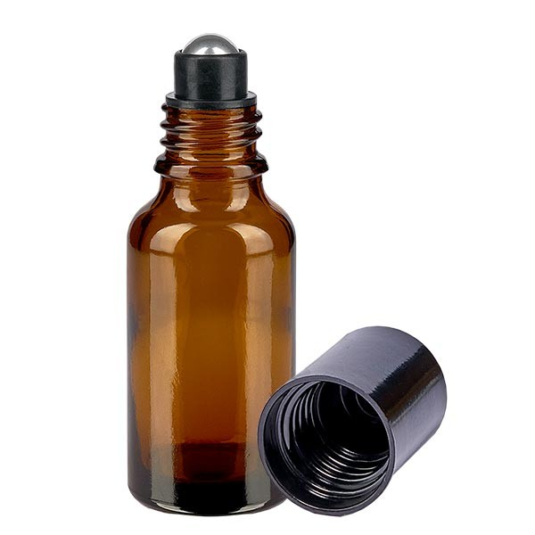 Flacon de déodorant en verre ambré 20 ml, déo à bille vide