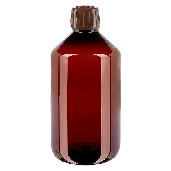 Flacon médical de 500 ml en PET, avec bouchon à vis brun PP28