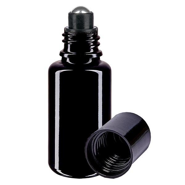 Flacon de déodorant en verre violet 20 ml, déo à bille vide