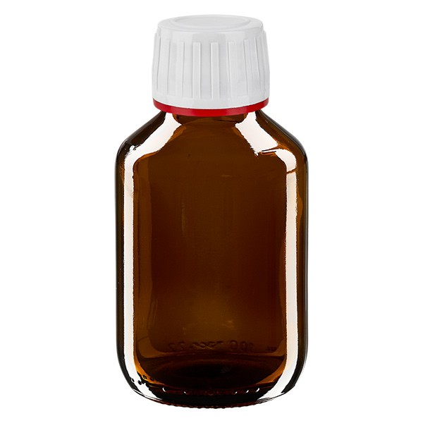 Flacon médical de 100 ml avec bouchon blanc