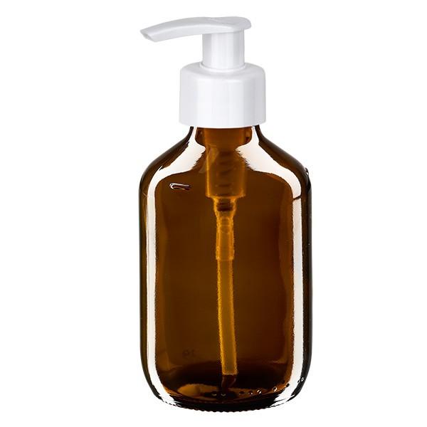 Flacon médical de 200 ml avec pompe doseuse blanche
